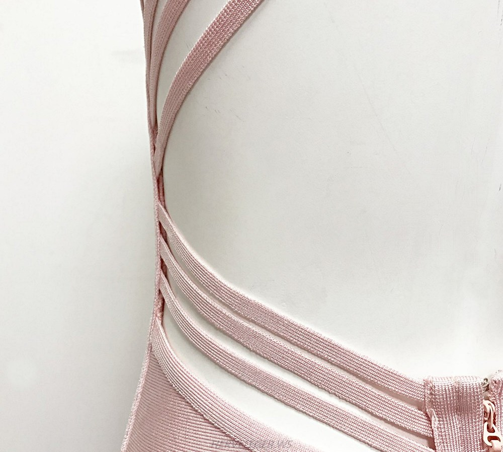 Herve Leger Pink Open Back Strappy Dress