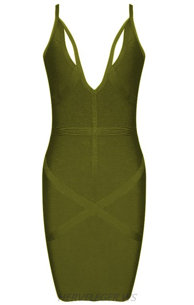 Herve Leger Green Plunge V Neck Criss Cross Back Dress