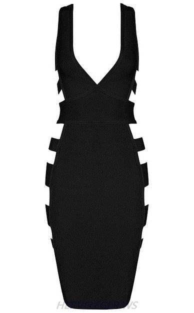 Herve Leger Black Plunge V Neck Side Cut Out Dress