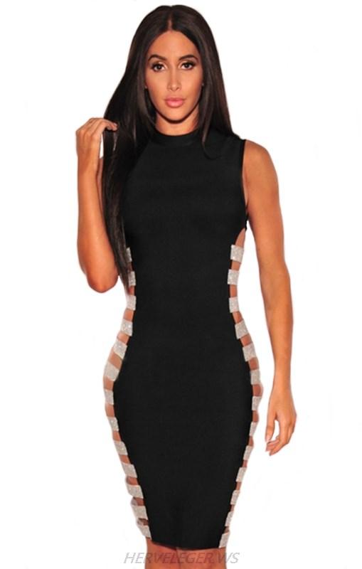 3b57affa Herve Leger Kim Kardashian Stars Black And Silver Side Cut Out Dress