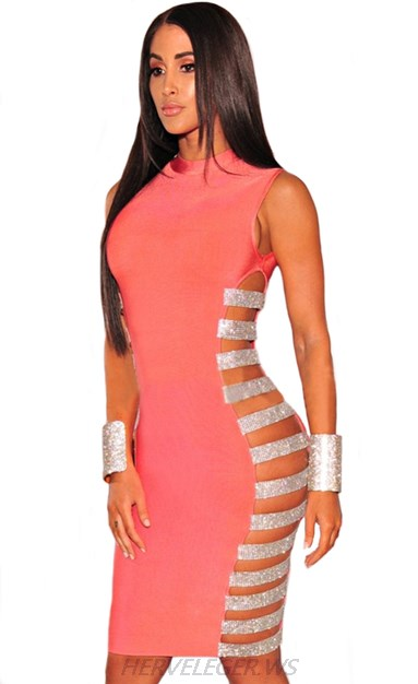 Herve Leger Pink And Silver Side Cut Out Dress