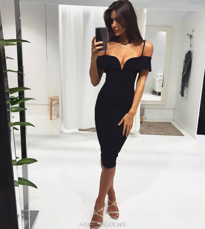 Herve Leger Black Sweetheart Bardot Dress