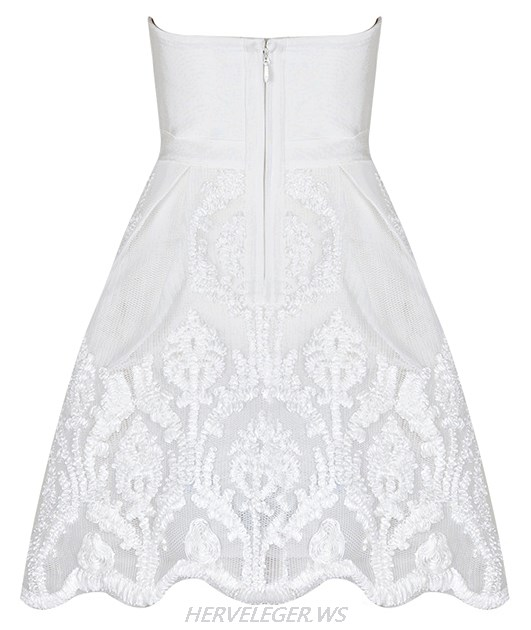 Herve Leger White Sweetheart Skater A Line Dress