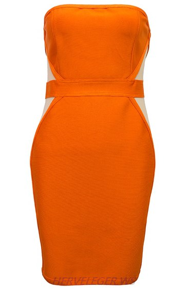 Herve Leger Orange Bandeau Mesh Strapless Dress