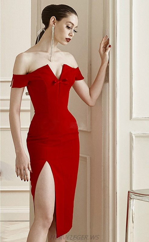 Herve Leger Red Bardot Bow Notch Slit Strapless Dress