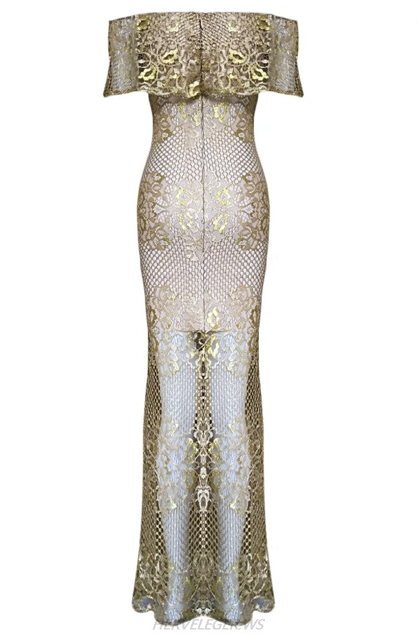 Herve Leger Gold And Nude Bardot Gown