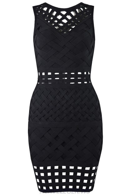 Herve Leger Black Braided Cut Out Dress