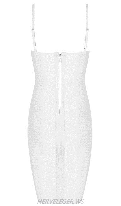 Herve Leger White V Neck Corset Lace Up Detail Dress