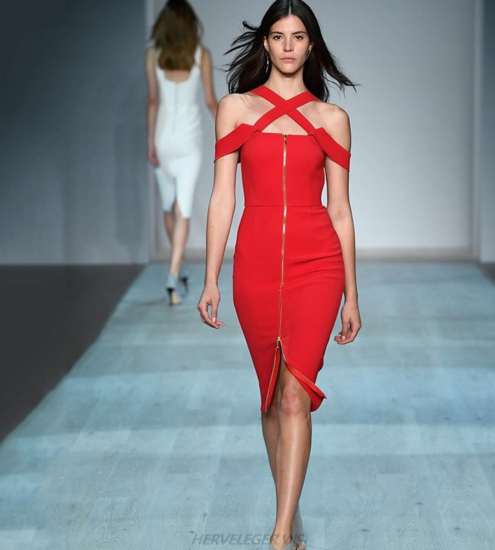 Herve Leger Red Front Zipper Crossed Straps Dress