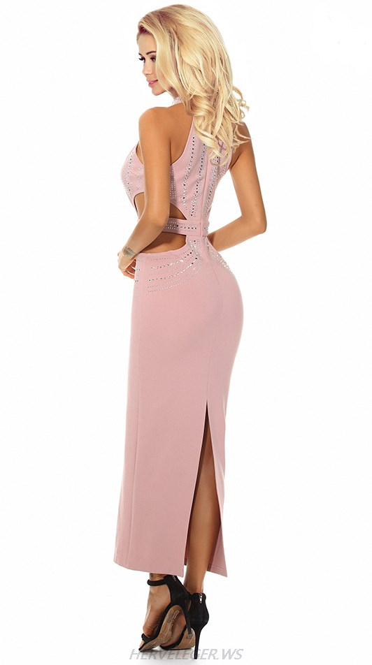 Herve Leger Pink Halter Embellished Cut Out Gown