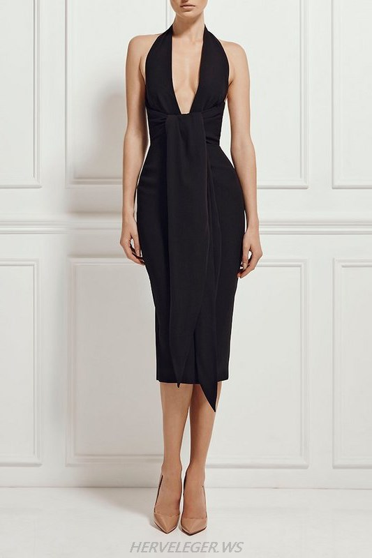 Herve Leger Black Halter Tie Sash V Neck Dress