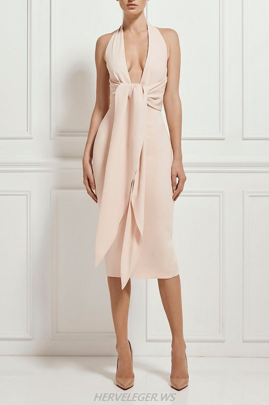 Herve Leger Pink Halter Tie Sash V Neck Dress