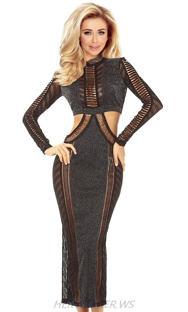Herve Leger Black Long Sleeve Cut Out Gown