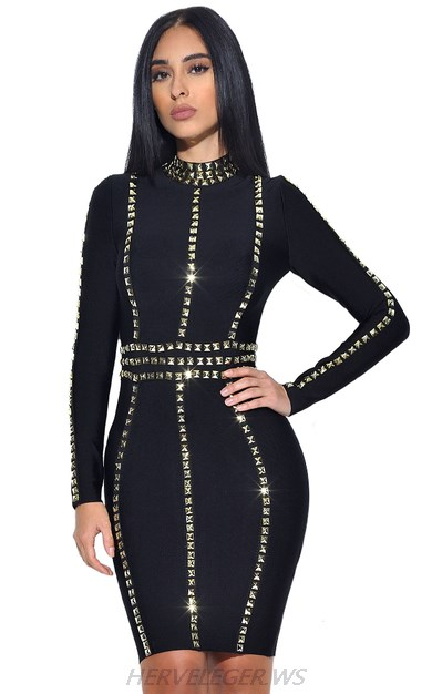Herve Leger Black Long Sleeve Studded Trims Dress