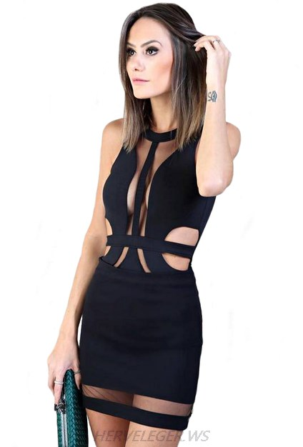 Herve Leger Black Mesh Cut Out Dress
