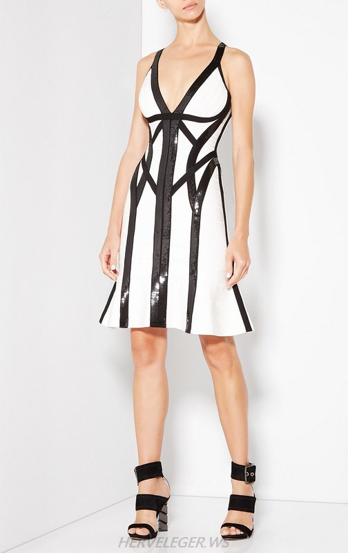 Herve Leger White And Black Sequined A Line Dress