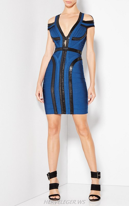 Herve Leger Blue And Black V Neck Sequined Cold Shoulder Dress
