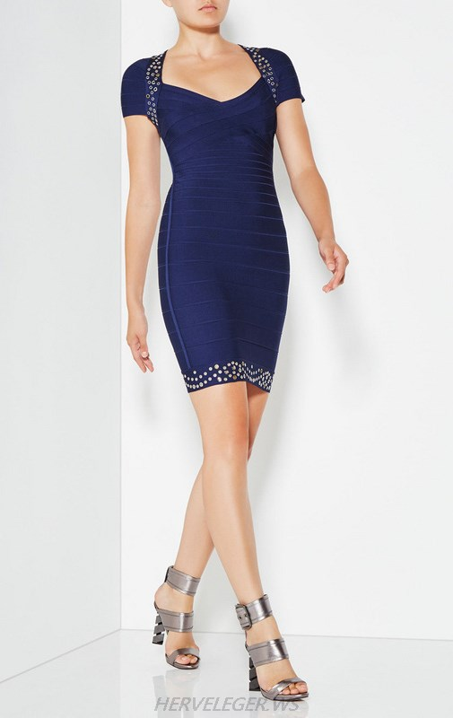 Herve Leger Blue Short Sleeve Sweetheart Dress