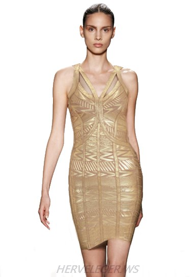 Herve Leger Gold Woodgrain Foil Print Dress