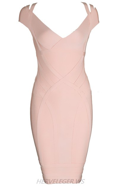 Herve Leger Pink Bardot Strap Dress