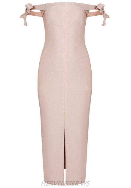 Herve Leger Nude Bardot Tie Sleeve Dress