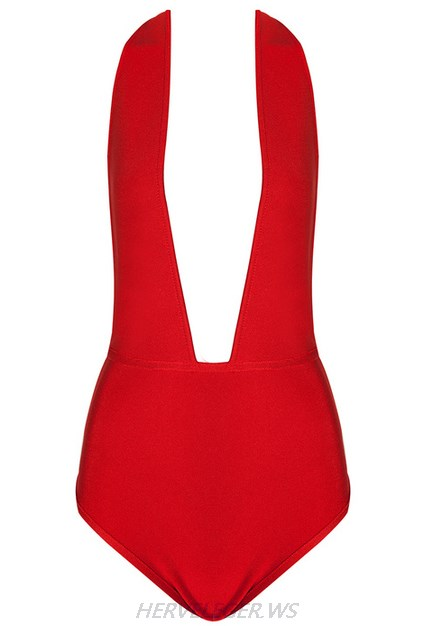 Herve Leger Red Chain Detail Halter Plunge Bodysuit