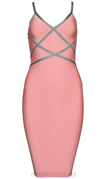 Herve Leger Pink Grey Contrast Trim Dress