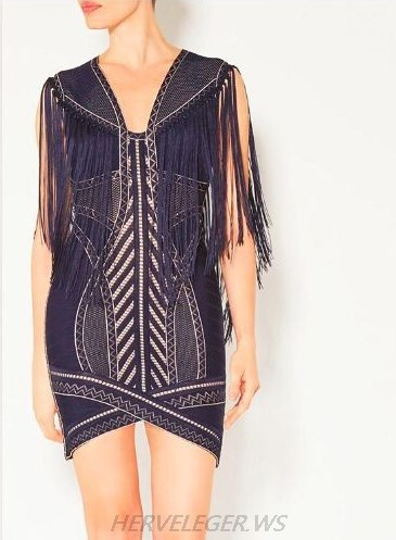 Herve Leger Blue Crochet Fringe Dress