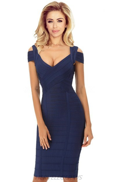 Herve Leger Navy Blue Cut Out Shoulder Dress