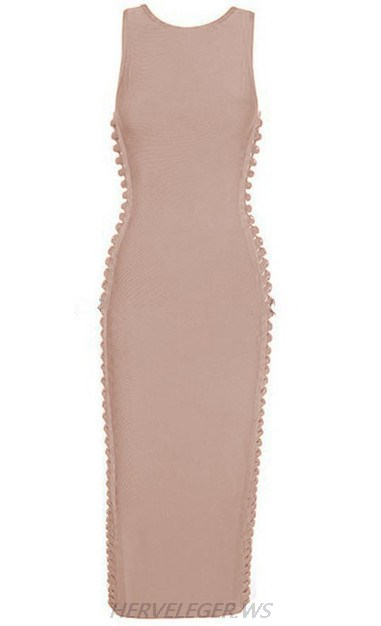 Herve Leger Nude Cut Out Side Dress