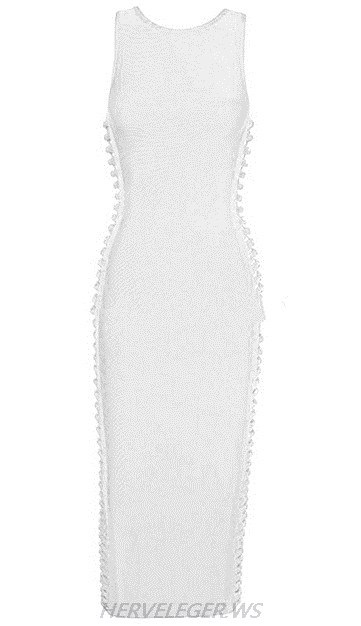 Herve Leger White Cut Out Side Dress