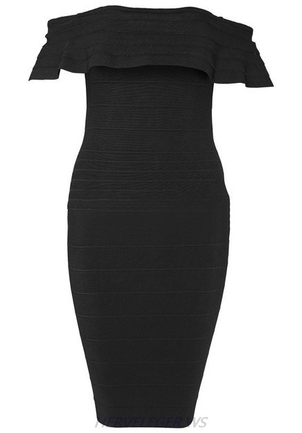 Herve Leger Black Frill Bardot Dress