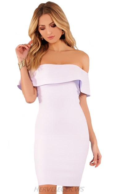 Herve Leger Lavender Frill Bardot Dress
