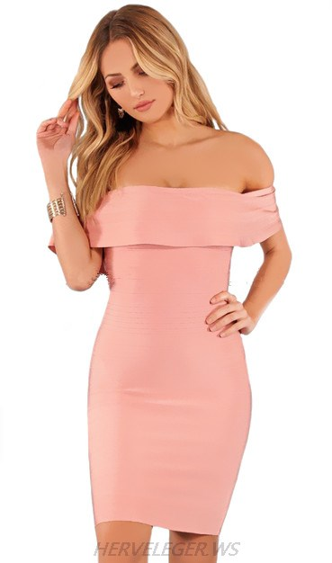 Herve Leger Pink Frill Bardot Dress