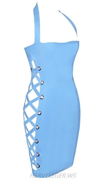 Herve Leger Blue Halter Side Lace Up Dress
