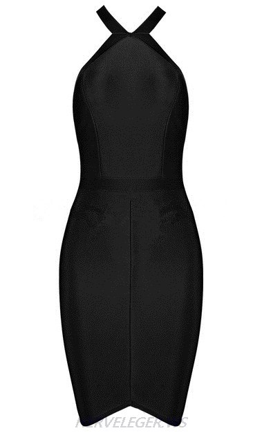 Herve Leger Black Halter Strappy Asymmetric Dress