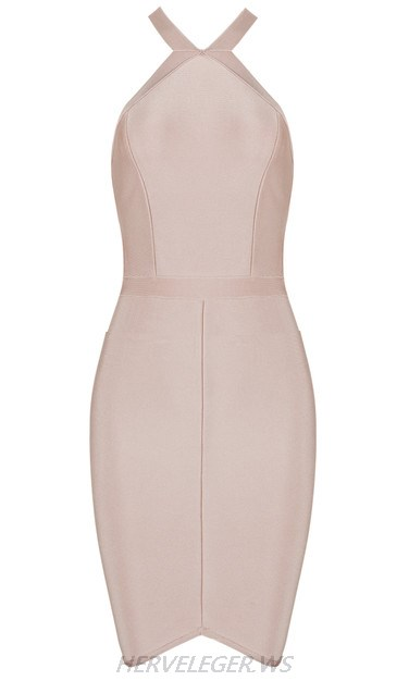 Herve Leger Nude Halter Strappy Asymmetric Dress