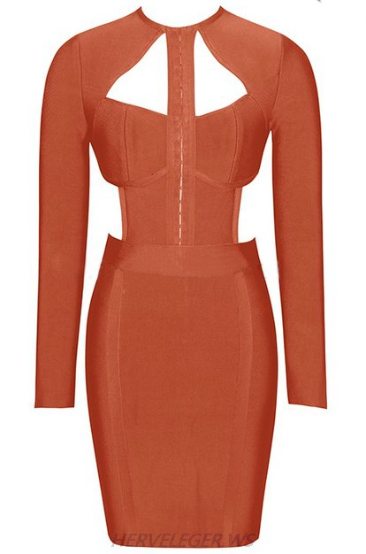 Herve Leger Rust Brown Long Sleeve Cut Out Detail Dress