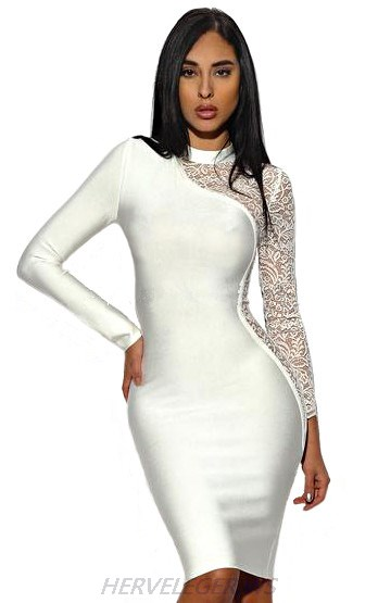 Herve Leger White Long Sleeve Lace Dress