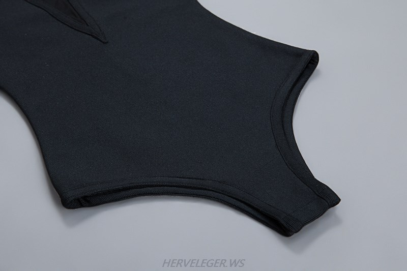 Herve Leger Black Long Sleeve Mesh Bodysuit