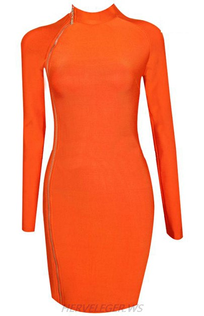 Herve Leger Orange Long Sleeve Zipper Dress