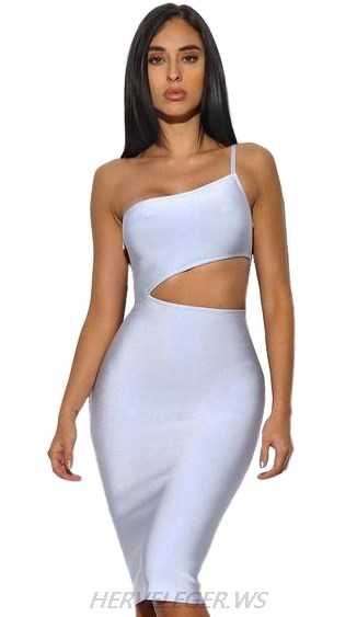 Herve Leger Blue One Shoulder Cut Out Dress