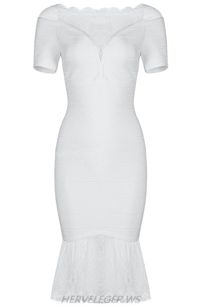 Herve Leger White Short Sleeve Lace Dress