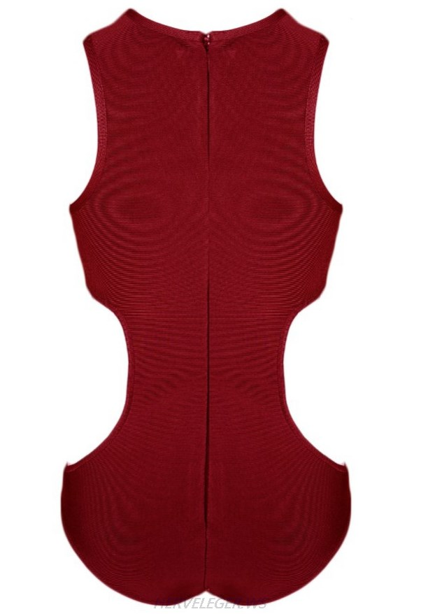 Herve Leger Burgundy Side Cut Out Bodysuit