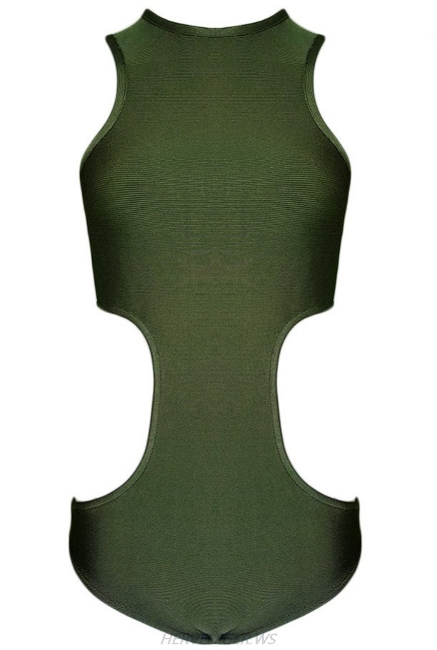 Herve Leger Green Side Cut Out Bodysuit