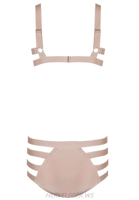 Herve Leger Nude Strappy Swimsuit