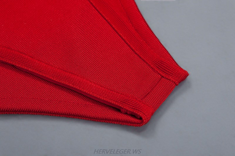 Herve Leger Red Strappy Swimsuit