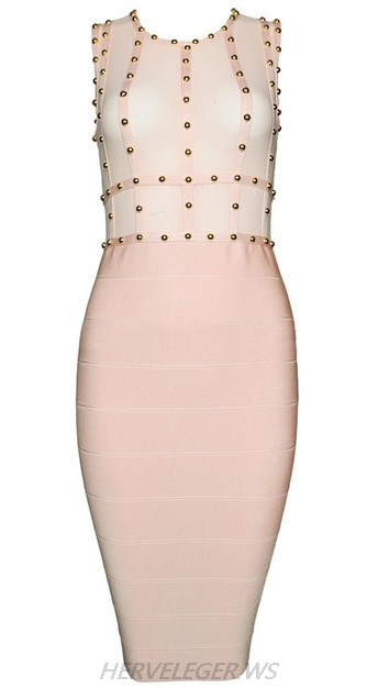 Herve Leger Pink Studded Mesh Dress