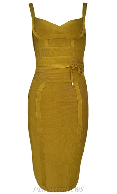 Herve Leger Green Tie Detail Dress