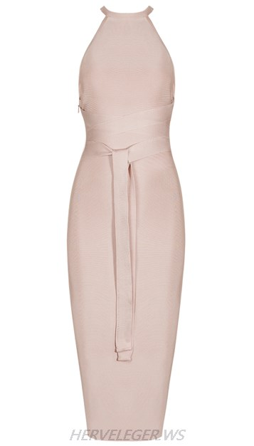 Herve Leger Nude Tie Waist Dress